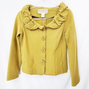 NICK & MO Mustard Yellow Knit Jacket Anthro EUC